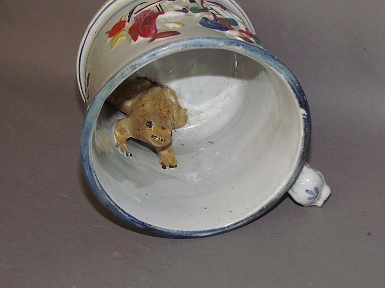 Lot 317: Large English Staffordshire toad mug
