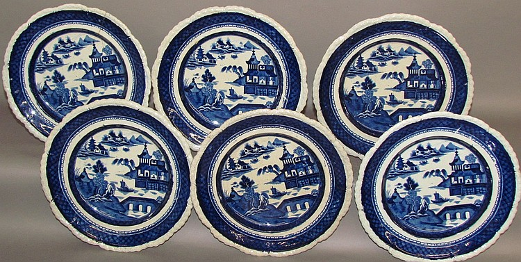 6 pearlware blue transfer plates by Stevenson