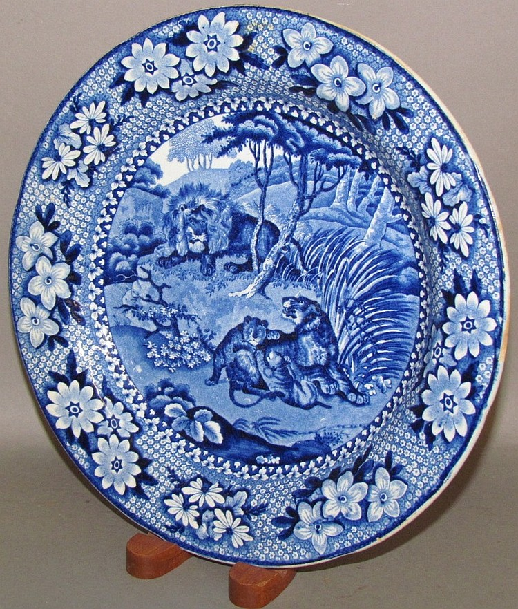 Lions pattern blue transfer Staffordshire plate