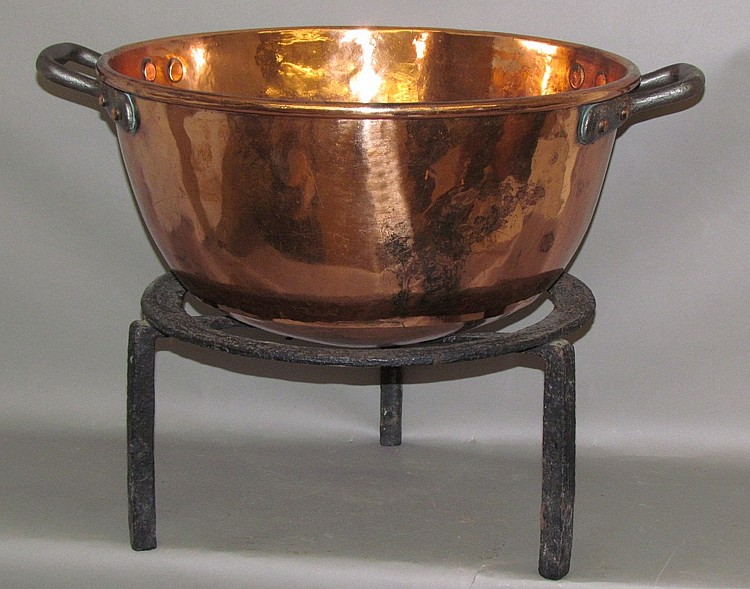 Copper candy kettle & iron tripod