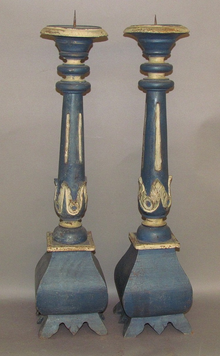Pair of carved & paint decorated candlestands