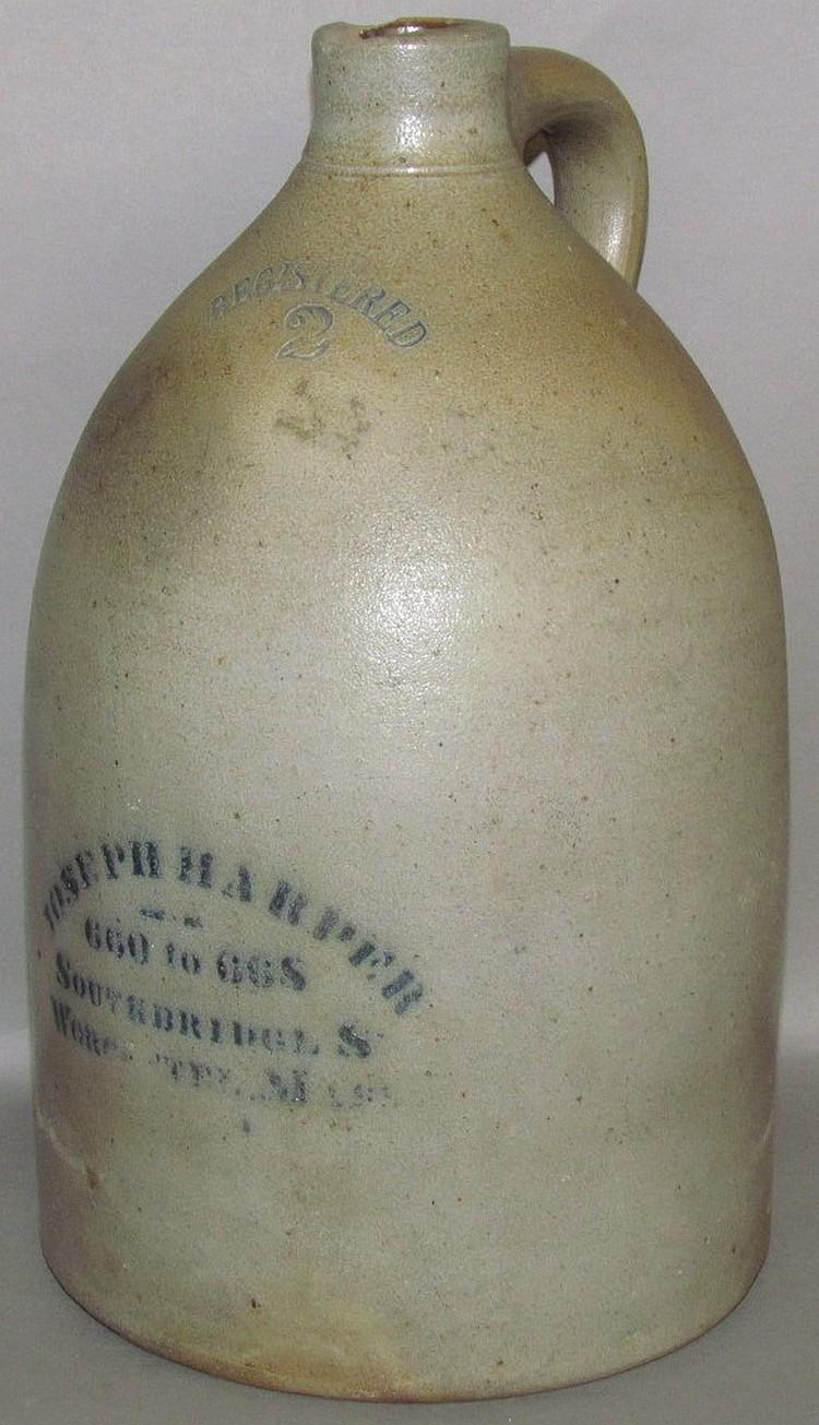 2 gallon cobalt decorated Joseph Harper advertising stoneware jug