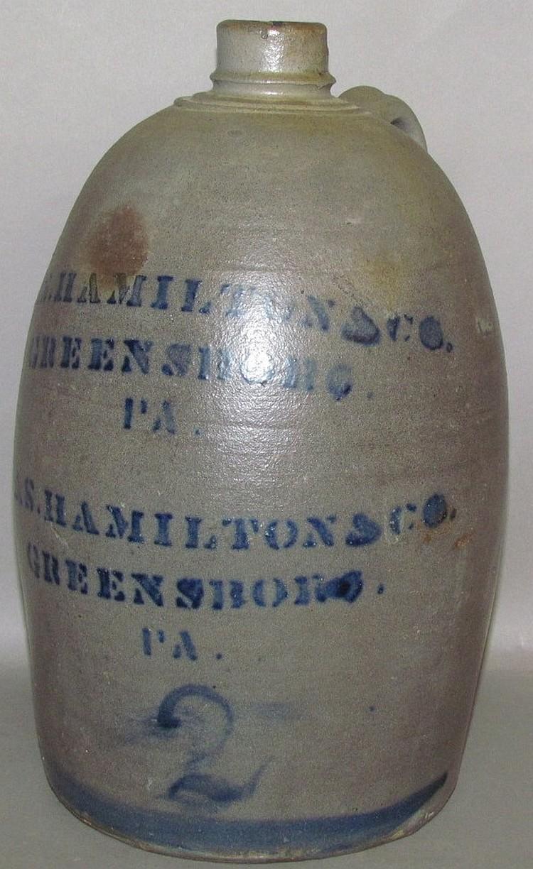 Lot 385: 2 gallon coblat decorated Jas Hamilton & Co stoneware jug