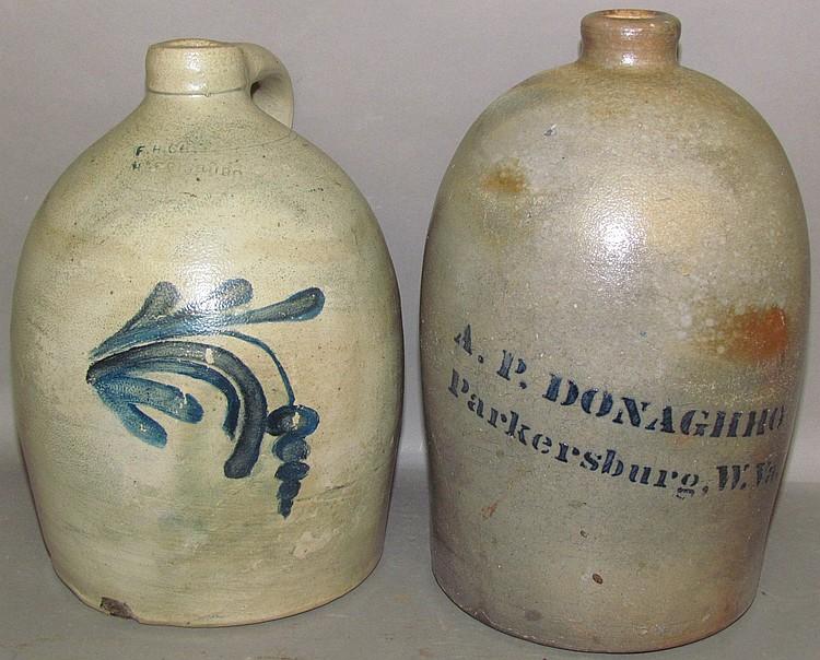 2 signed stoneware jugs