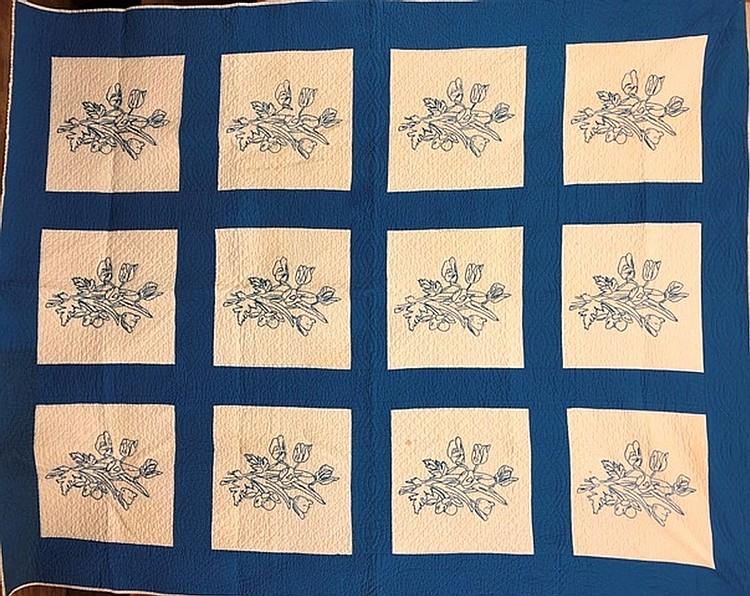 Lot 465: Rose design floral embroidered quilt