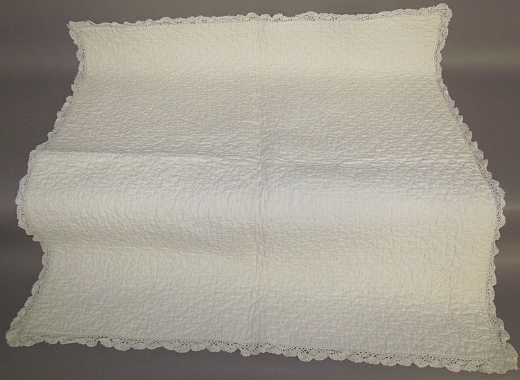 Matched pair of quilted whitework pillow covers