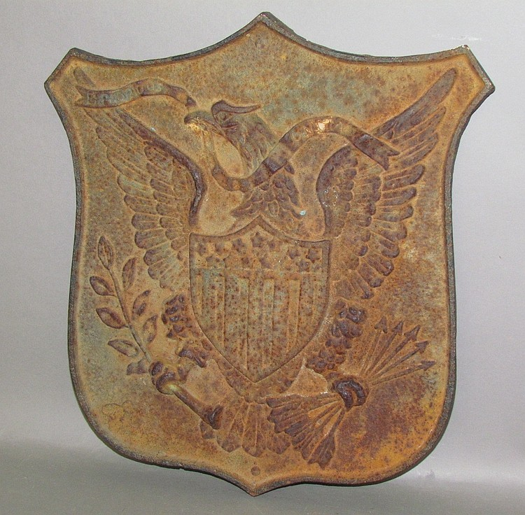 Cast iron embossed eagle wall plaque