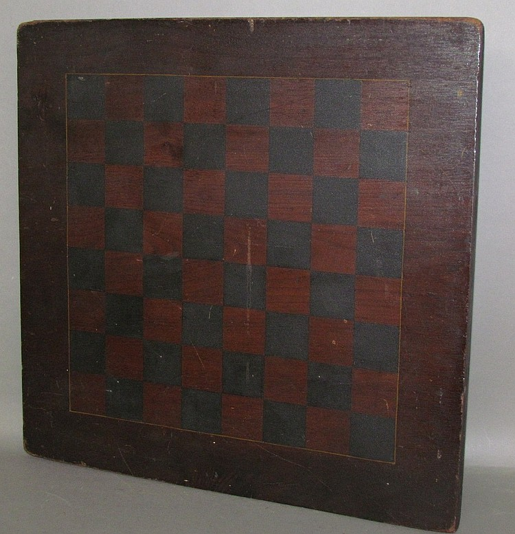 Walnut paint decorated chess board