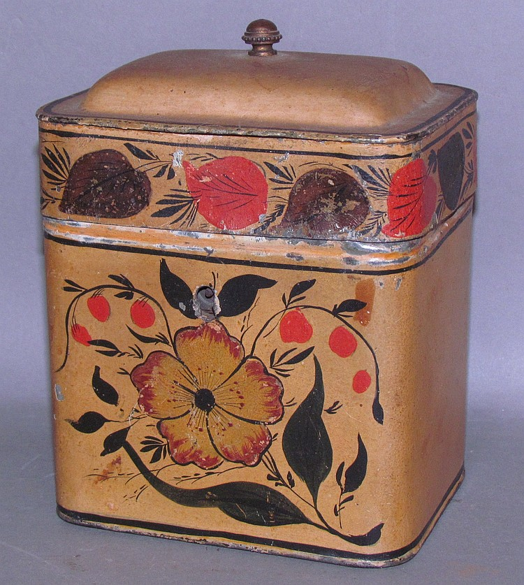 Fine toleware domed top tea caddy with hinged lid
