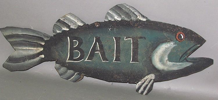 Tin fish shaped bait sign