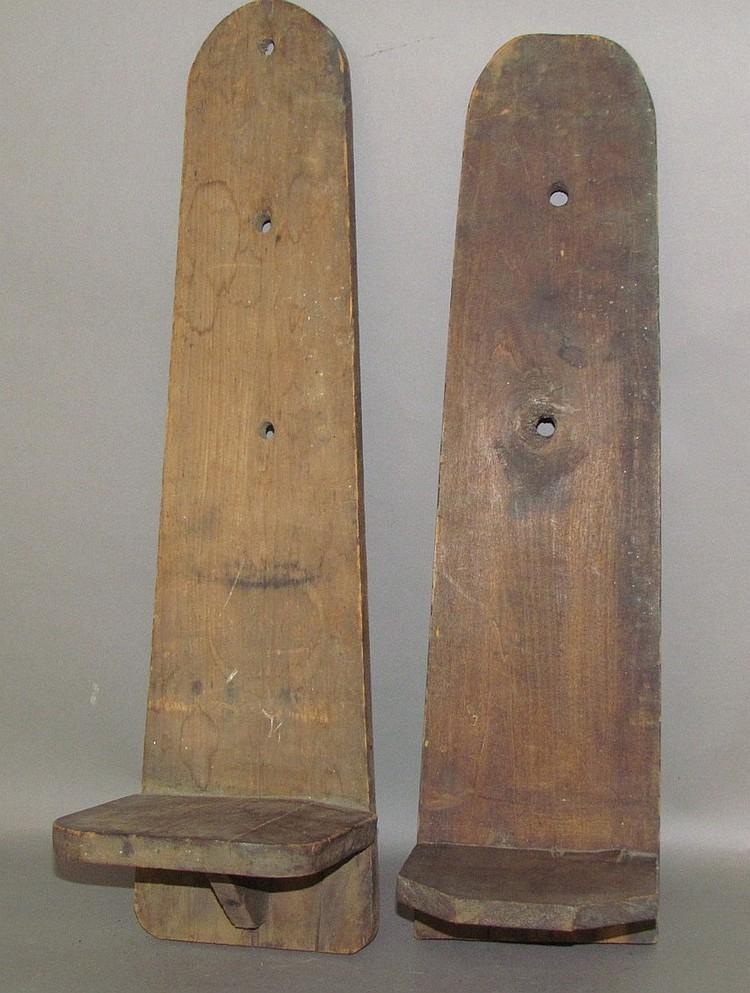 2 primitive wooden wall sconces