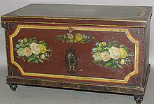 Lot 399: Lehnware miniature chest with turned feet