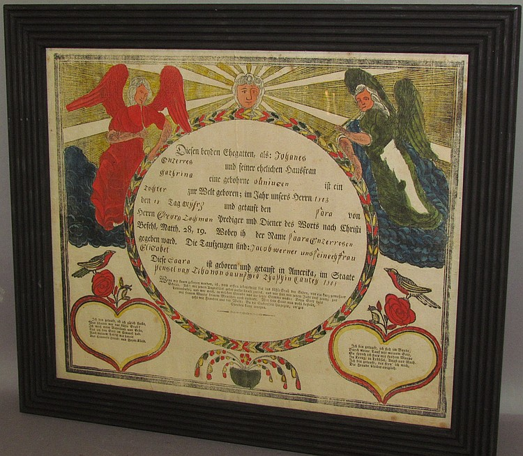 Lot 404: Framed printerd & watercolor accented printed birth record & baptism