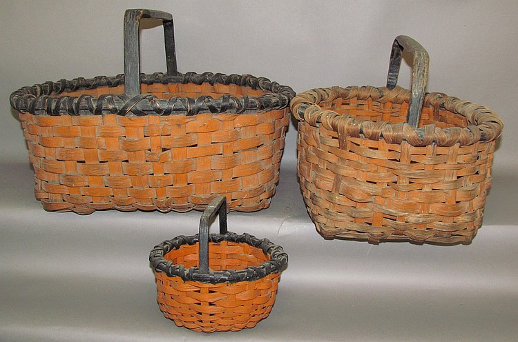3 paint decorated gathering baskets
