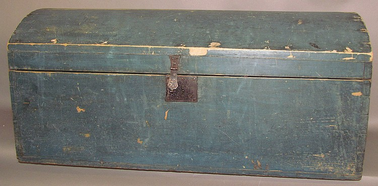 Blue painted domed lid trunk