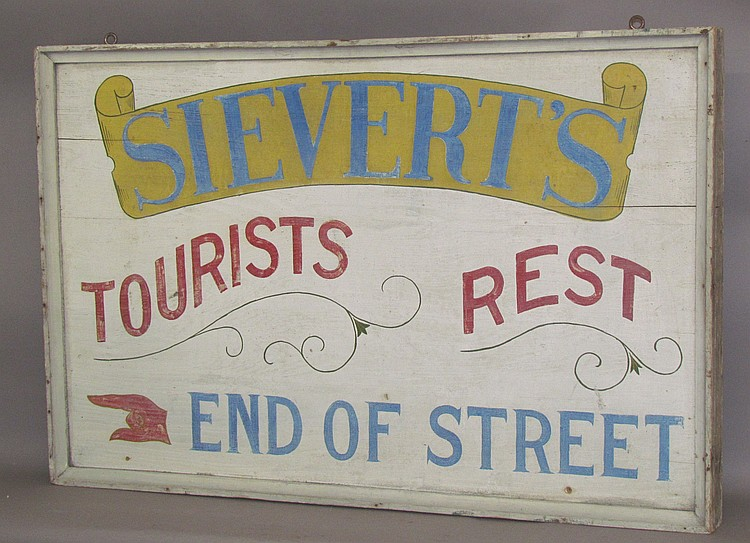 Lot 445: Painted wood 2 sided sign