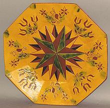 Sgraffito starburst design platter