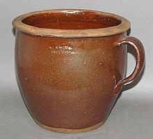 Signed Willoughby Smith redware apple butter crock