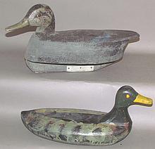 2 wooden floating duck decoys