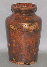 Redware flared cylindrical jar & PA redware deep bowl