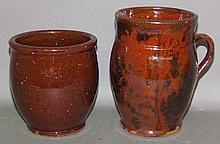 PA redware jelly jar & manganese decorated pot