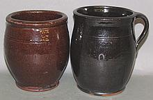 PA redware jelly jar & handled honey pot
