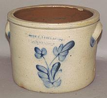 Cobalt decorated F.H. Cowden crock