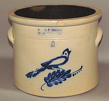 4 gallon E & LP Norton bird decorated crock
