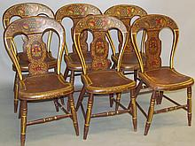 Set of decorated balloon back chairs