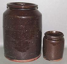 2 PA cylindrical redware jars