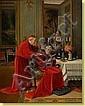 Travail belge. Huile sur panneau: Conversation de, Victor Marais Milton, Click for value