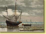 Louis Barnaba (19e). Huile sur panneau: Pêcheurs