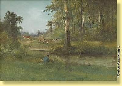 Henri Langerock (1830-1915) Ecole belge Aquarelle