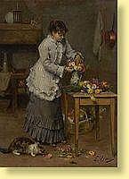 Ernest Hareux (1847-1909) Ecole française Huile