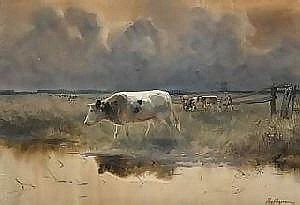 Maurice Hagemans (School belge 1853 - 1917) Watercolour on paper: Herd at the edge of water. Signed: Mr. Hagemans. One joined the catalogue of the time there. (light traces of moisture). Dimensions: 60 X 88