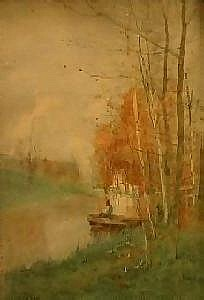 Henri Stacquet (School belge 1838 - 1906) Watercolour on paper: Fisherman under the birches. Signed and dated: H. Stacquet 1888. Dimensions: 43 X 29,5