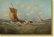 Huile sur toile: Barque de pêche par gros temps.
