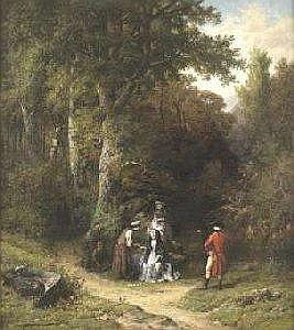 Paul Lauters and Jean Baptiste Madou (School belg Oil on panel: The diseuse one of good adventure with edge of the cascade. Signed: Lauters and Madou. See illustration. Dimensions: 77 X 69