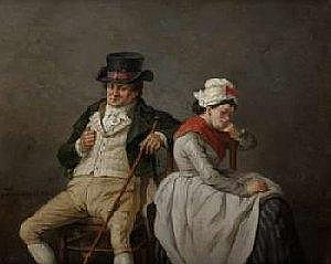 Jean Baptiste Madou (1796-1877) Belgian School Oil on panel: Sulky people. Signed and dated: Madou 1862. See illustration. Dimensions: 26,5 X 32