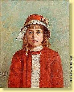 Leon Corthals (1877-1935) Belgian School Oil on fabric: Portrait of young girl to the red hat. Signed and dated: L Corthals 1914. Label of retrospective to the back. Dimensions: 66 X 53 ESTIMATE