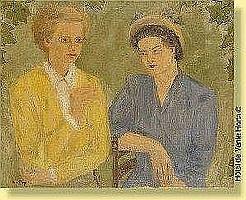 Alice Frey (1895-1981) Ecole belge Huile sur toile: Galante conversation. Signee: Alice Frey. Dimensions : 65 x 81 ESTIMATION