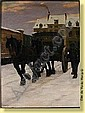 Constant Eugene De Busschere (1876-1951) Ecole belge Huile sur toile: Chariot attele dans une rue nneigee. Signee: C. De Busschere. Dimensions : 100 x 75 ESTIMATION, Constant-Eugene de Busschere, Click for value