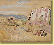 Adrien Dupagne (1889-1980) École belge Aquarelle