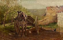 """Louis LONCIN (Durbuy 1875 - Waulsort 1946) """"Cour de ferme animée"""