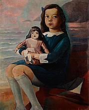 """Fernand STEVEN (Liège 1895 - Herstal 1955) """"Portrait de la fille de l'artiste à la poupée"""