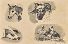 """Edmond TSCHAGGENY (Bruxelles 1818-1873) """"Quatre animaux de la ferme"""