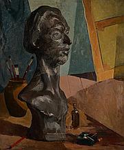 """Fernand STEVEN (Liège 1895 - Herstal 1955) """"Le buste de l'artiste dans l'atelier"""
