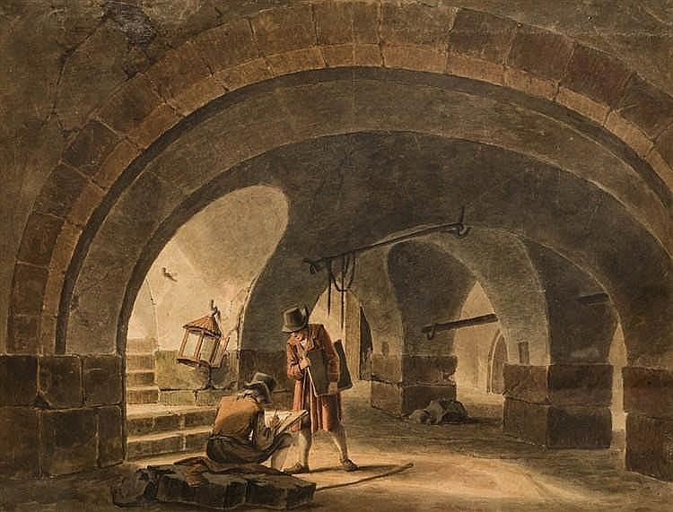 Martin AUBÉE (Liège 1729 - Paris 1806) Deux dessinateurs dans un sous-sol