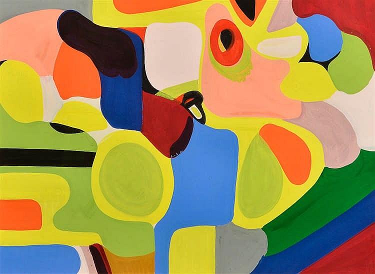 José PICON (Liège 1921-2011) Abstraction  Gouache sur papier signée en