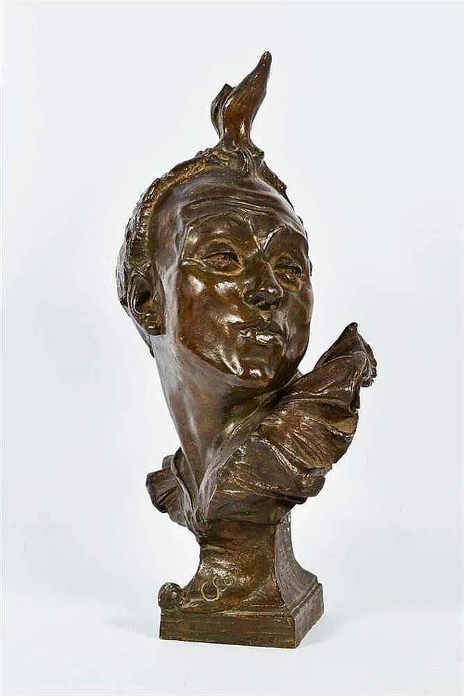 Joseph WILLEMS (Malines 1845 - Muizen 1910) Clown  Bronze à patine bru